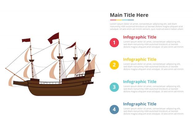 Vecchio modello di infografica grande nave con quattro punti