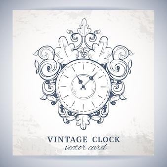 Vecchio orologio di parete di schizzo d'annata retro con l'illustrazione di vettore della carta della decorazione