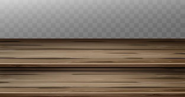 Vecchio piano d'appoggio d'annata, controsoffitto marrone di legno