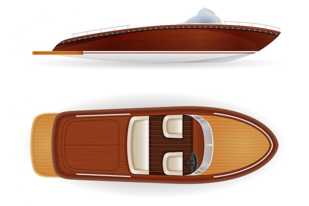Vecchio retro d'annata della barca a motore fatto di di legno.