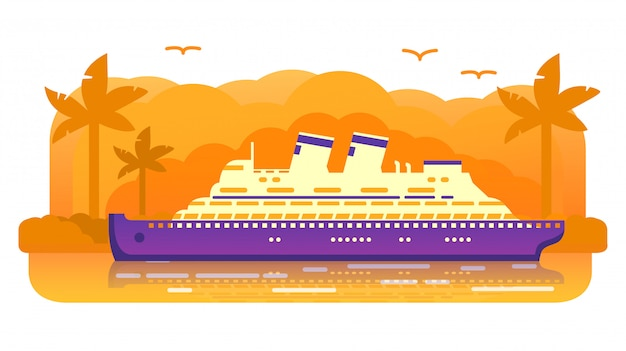 Vecchio retro della nave da crociera. viaggio marino estivo. fodera di oceano passeggeri, isola tropicale di un tramonto della palma. viaggio per mare. concetto di banner.
