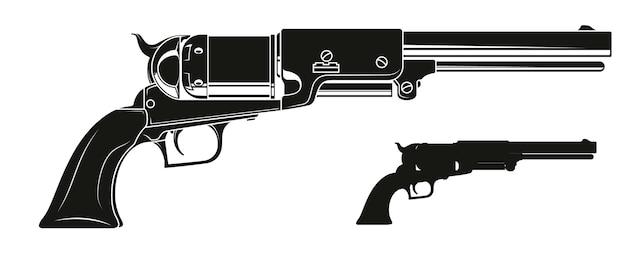 Vecchio revolver della siluetta dettagliata grafica