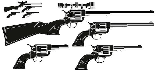 Vecchio revolver della siluetta grafica con vista ottica