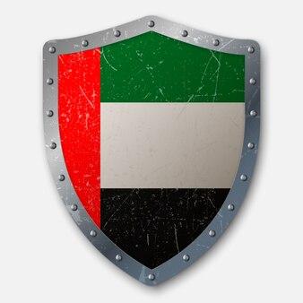 Vecchio scudo con bandiera degli emirati arabi uniti