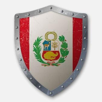 Vecchio scudo con bandiera del perù