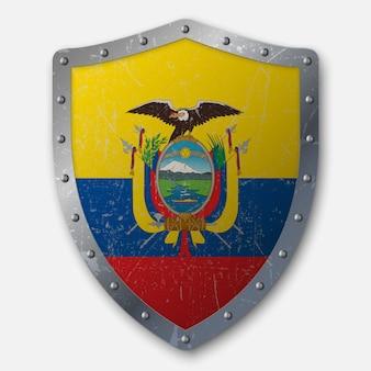 Vecchio scudo con bandiera dell'ecuador