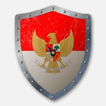 Vecchio scudo con bandiera dell'indonesia