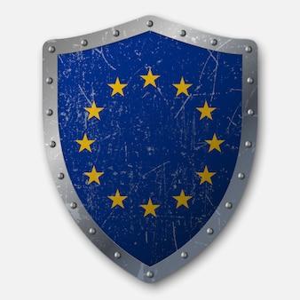 Vecchio scudo con bandiera dell'unione europea