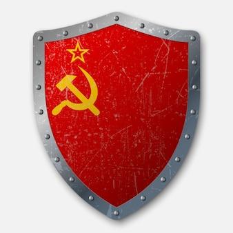 Vecchio scudo con bandiera dell'unione sovietica