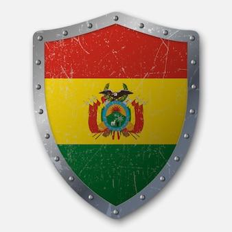 Vecchio scudo con bandiera della bolivia