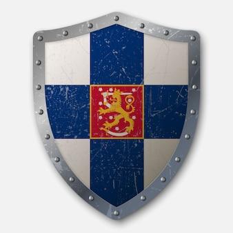 Vecchio scudo con bandiera della finlandia