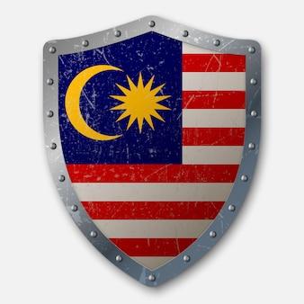 Vecchio scudo con bandiera della malesia