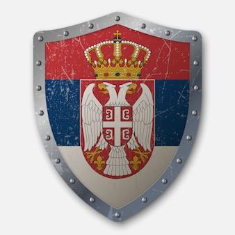 Vecchio scudo con bandiera della serbia