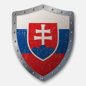 Vecchio scudo con bandiera della slovacchia