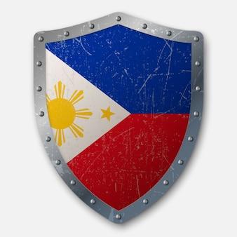 Vecchio scudo con bandiera delle filippine