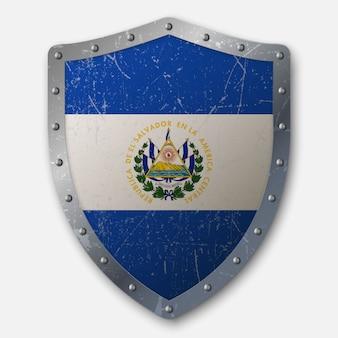 Vecchio scudo con bandiera di el salvador
