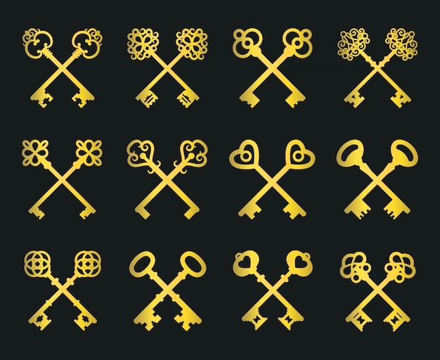 Vecchio set di chiavi incrociate d'oro
