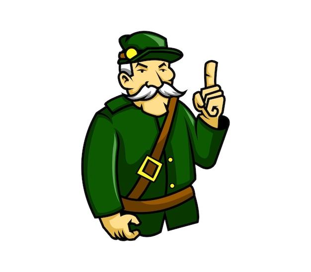 Vecchio ufficiale di baffi bianchi