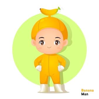 Vecter sveglio dell'uomo della banana del carattere per l'illustrazione