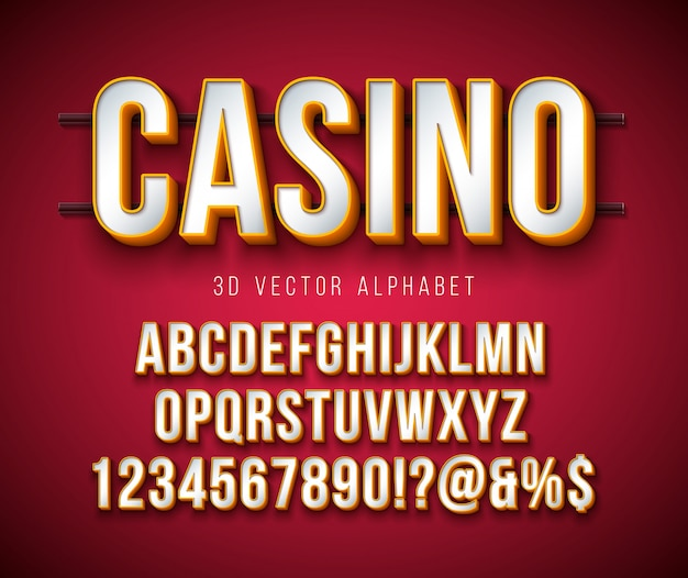 Vector 3d font alfabeto con cornice e ombra