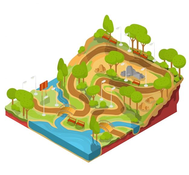 Vector 3d illustrazione isometrica della sezione trasversale di un parco paesaggistico con un fiume, ponti, panchine e lanterne.