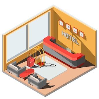 Vector 3d illustrazione isometrica interni della lobby dell'hotel con la ricezione.
