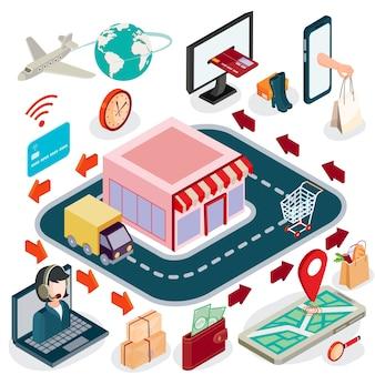 Vector 3d isometrico illustrazione concetto di e-commerce, negozio on-line.