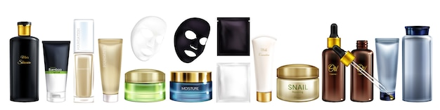 Vector 3d realistica grande collezione di prodotti cosmetici - shampoo, maschera idratante, fondotinta e