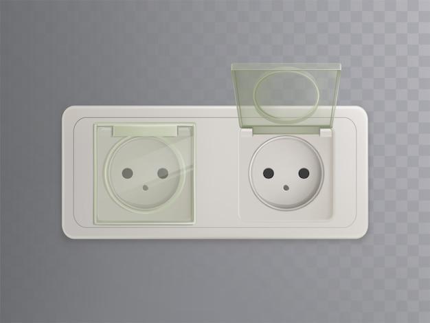 Vector 3d realistica presa di corrente con tappi di plastica, coperture per la protezione, sistema a prova di bambino