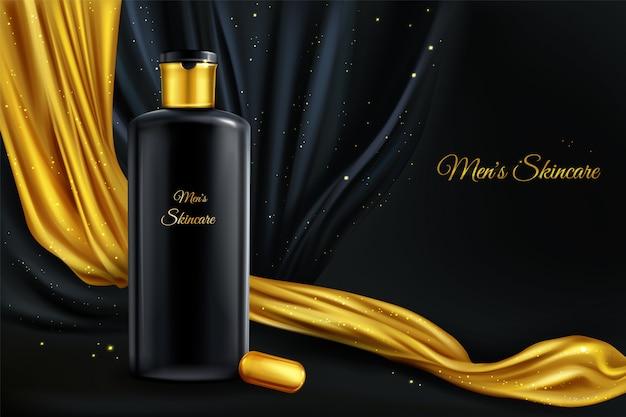 Vector 3d realistico sfondo cosmetico, mock up di cosmetici di lusso per gli uomini