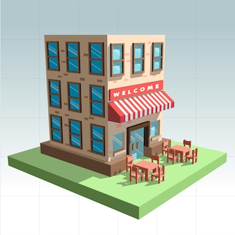 Vector 3d ristorante con sedie e tavoli all'esterno