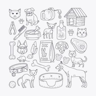 Vector animali domestici disegnati a mano