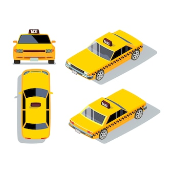 Vector auto taxi in stile piatto in diverse viste. illustrazione isometrica gialla del trasporto e di traffico del tassì