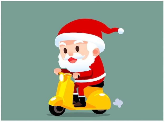 Vector babbo natale personaggio in sella a uno scooter