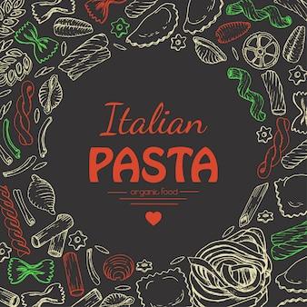 Vector background con pasta italiana su sfondo scuro