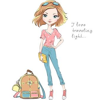 Vector bella ragazza di moda viaggia per il mondo