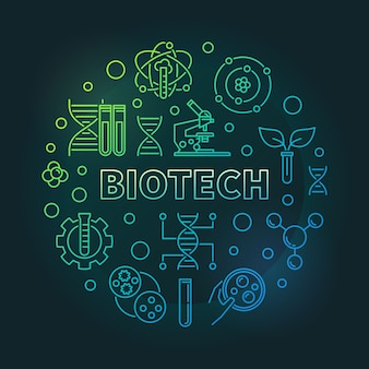 Vector biotech colorato contorno rotondo illustrazione