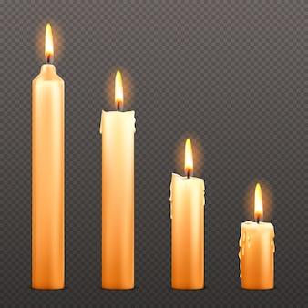 Vector candele accese di diverse dimensioni