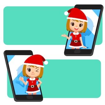Vector caratteri femminili di babbo natale su mobile, applicazione per smartphone