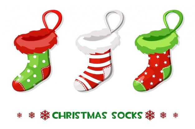 Vector cartoon calzini di natale, simboli di capodanno