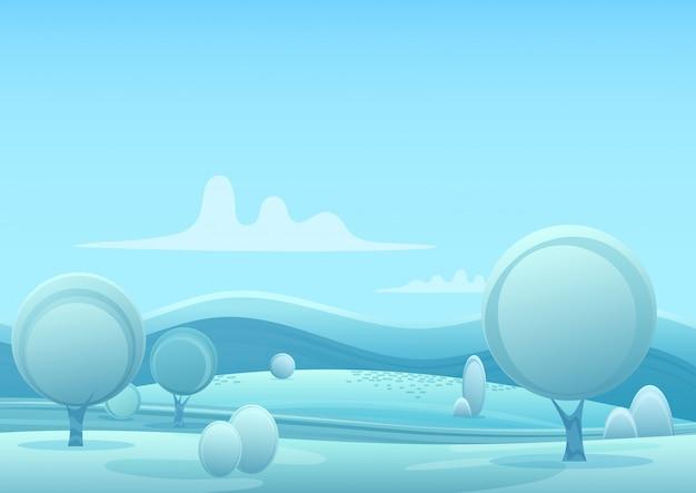 Vector cartoon nevoso paesaggio invernale in stile gioco con alberi e neve montagne colline.