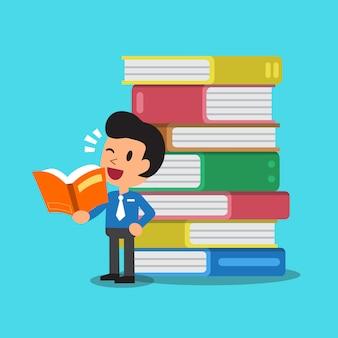 Vector cartoon uomo d'affari e libri