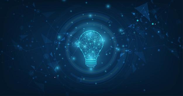 Vector cerchio tecnologia con luce blu e lampadina su sfondo di tecnologia.