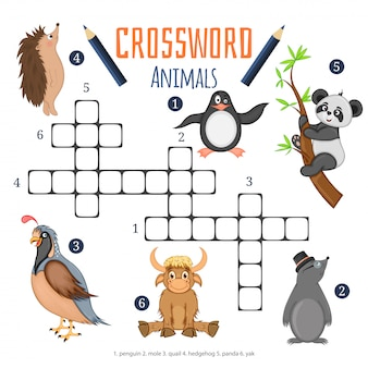 Vector cruciverba di colore, gioco di educazione per i bambini sugli animali