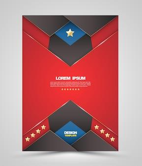 Vector design modello di copertina brochure rossa