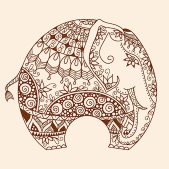 Vector disegnati a mano tatuaggio all'hennè mehndi doodle con elefante indiano decorato