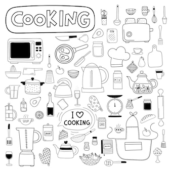 Vector doodle set di utensili da cucina