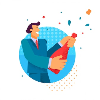 Vector flat man in suit aperto champagne holding.