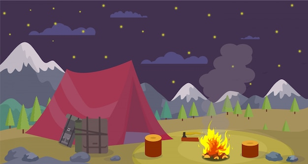 Vector flat night camping mountains burn campfire.