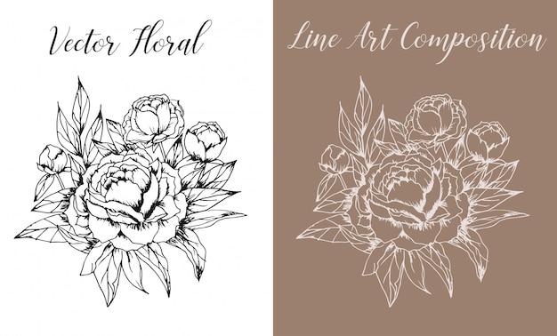 Vector floral line art